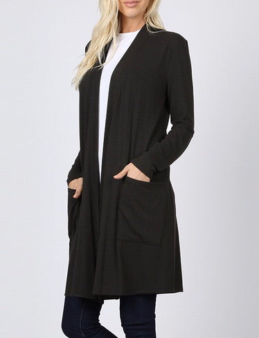 Black Long Cardi with Pockets
