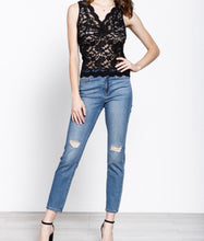 Scalloped Trim Lace Cami in Black