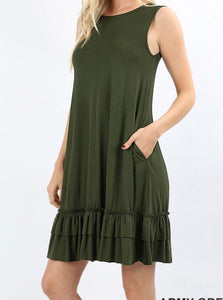 Army Green Ruffled Tank Dress