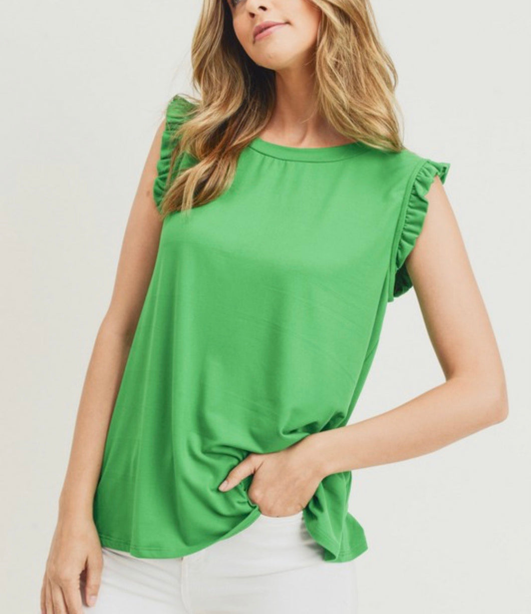 Ruffled Shoukder Tank