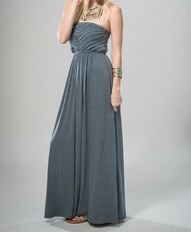 Steel Blue Strapless Maxi