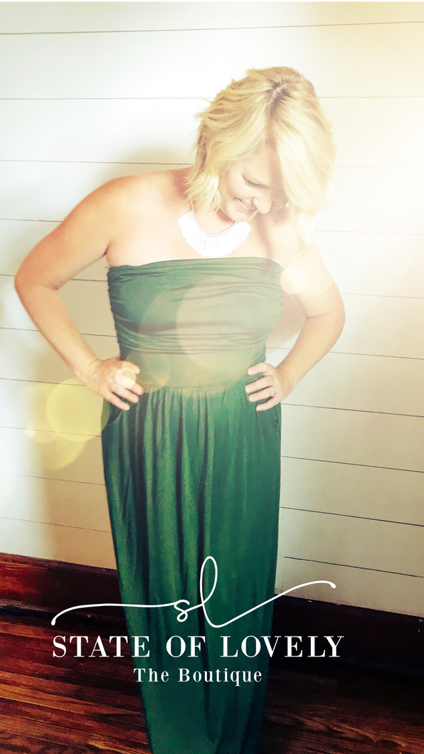 Army Green Strapless {State} Maxi