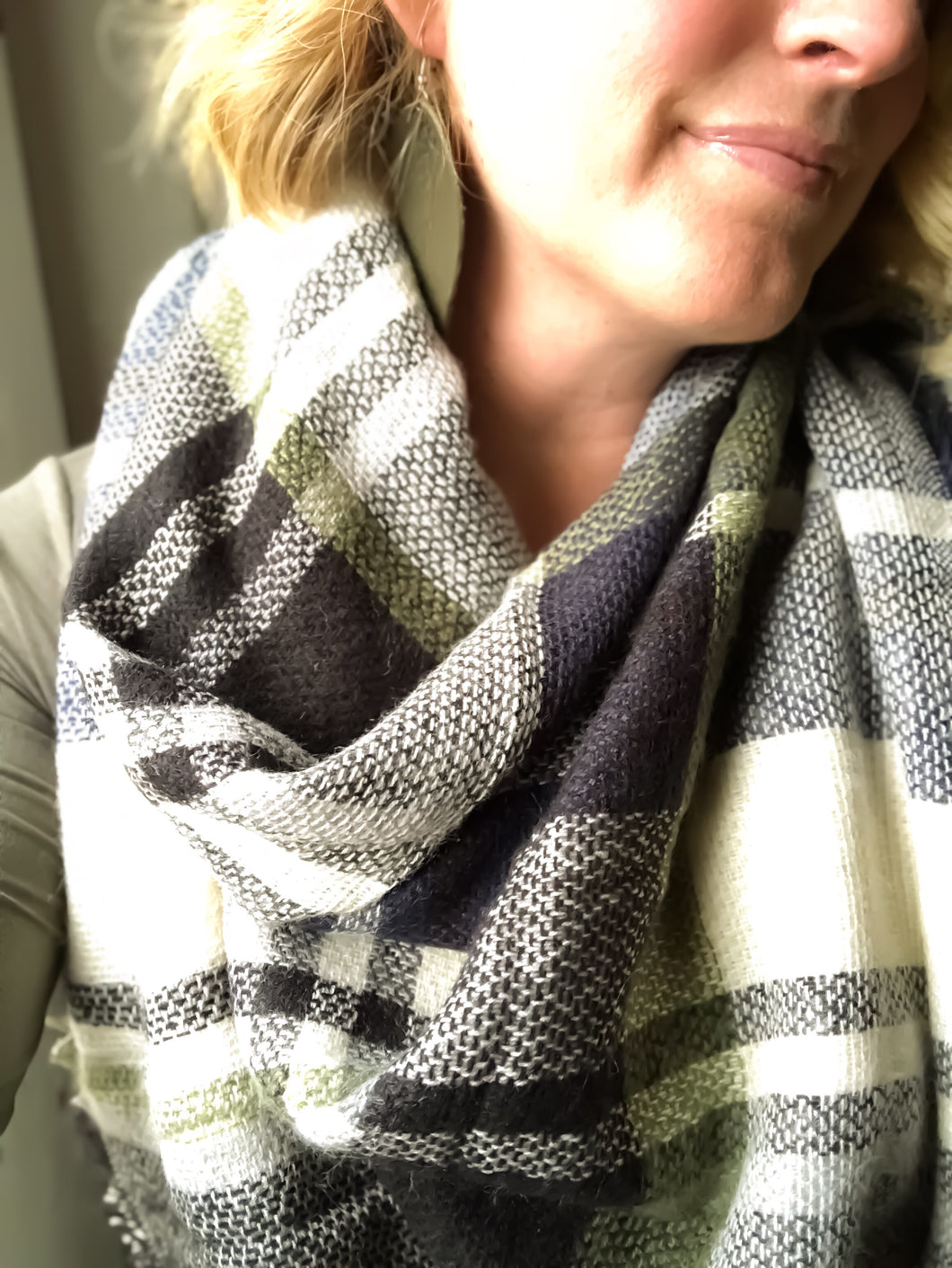 Olive Navy Plaid Blanket Scarf