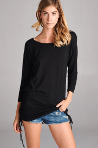 Black side-shirring jersey top