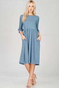 Slate Ruffled Sleeve Midi Dress