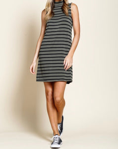 Olive Striped Sleeveless Dress