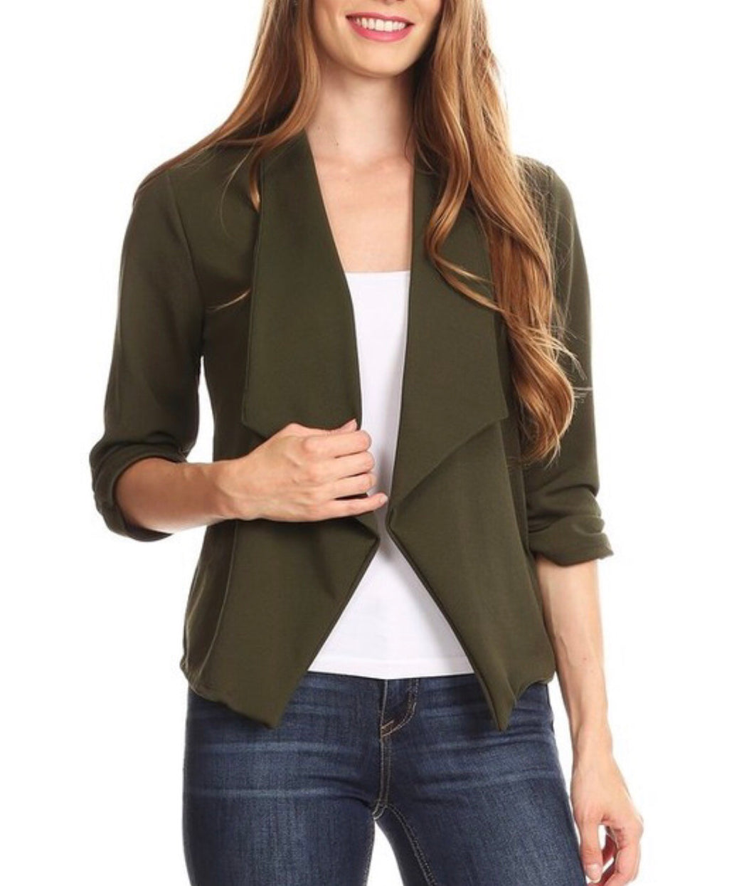 Olive Open Front Blazer