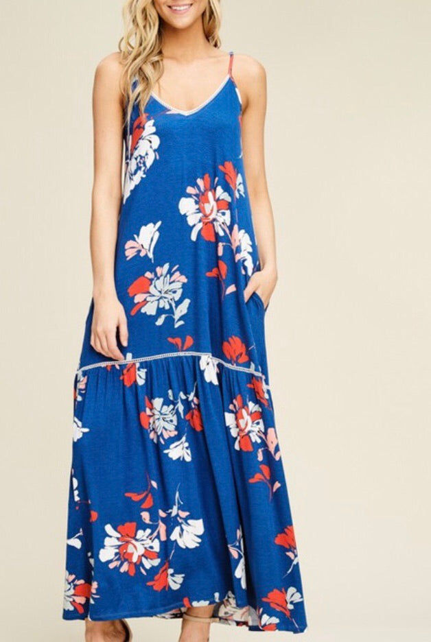 Royal Blue Floral Maxi