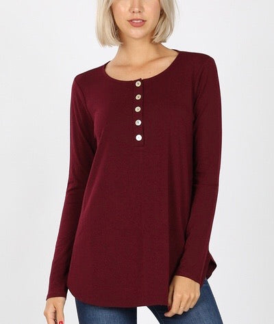 Merlot Button Front Tunic