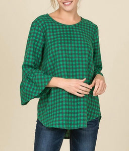 Green + Charcoal Checked Top