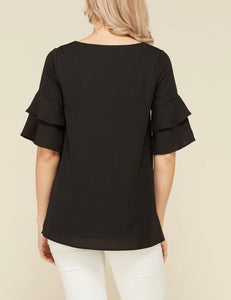 Black Ruffled Sleeve Blouse