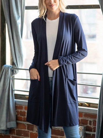 Navy Cardi with Pockets