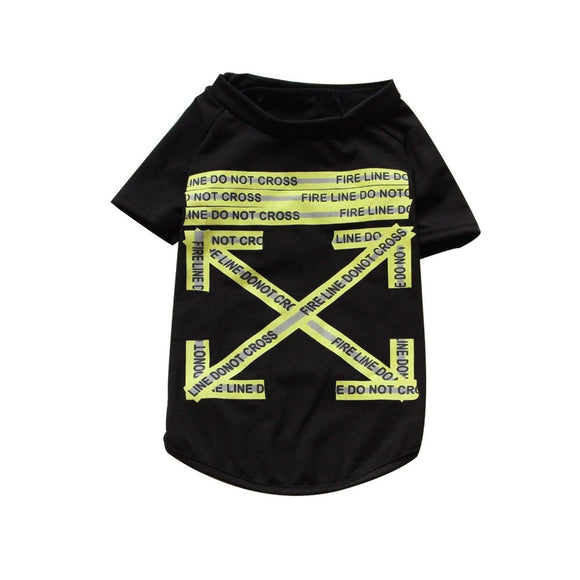 Woof-White Fire Line Tape Tee