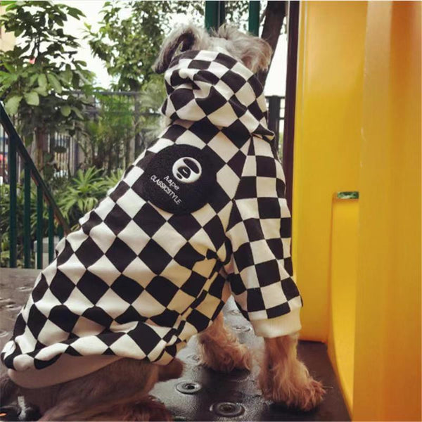 Bathing Pup Checkered Hoodie