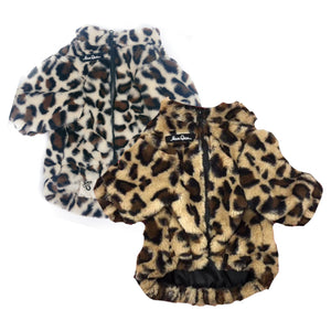 Leopard Faux Fur Coat with Gold Chain
