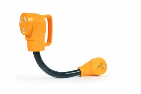 "Camco 55165 15M/30F 12"" PowerGrip Dogbone Electrical Adapter with Handle"