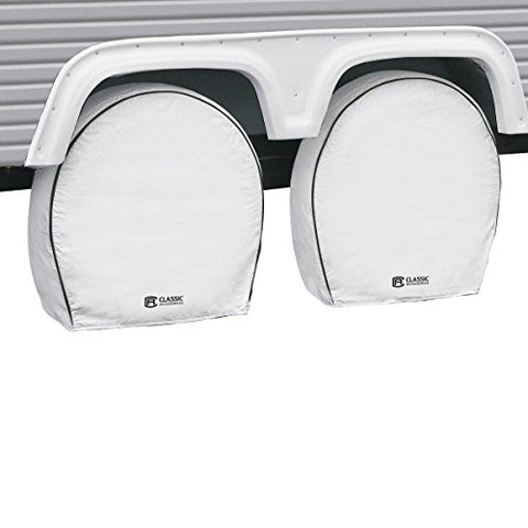 "Classic Accessories 80-221-152302-00 4-Pack RV Deluxe Wheel Covers For 26.75"" - 29"" Tire Diameter, White"
