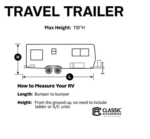 Classic Accessories OverDrive PolyPRO 3 Deluxe Travel Trailer Cover or Toy Hauler Cover, Fits 24' - 27' RVs - Max Weather Protection with 3-Ply Poly Fabric Roof Travel Trailer Cover (73463)