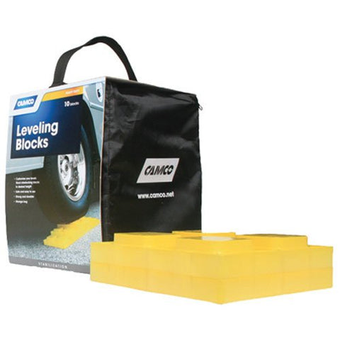 Camco Heavy Duty Leveling Blocks, Ideal For Leveling Single and Dual Wheels, Hydraulic Jacks, Tongue Jacks and Tandem Axles (10 pack)