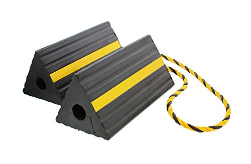 ABN Rubber Wheel Chock with Rope – Aircraft Plane, Trailer, RV, Car, Truck, ATV – Tire Traction Stabilizer Dual Twin Set