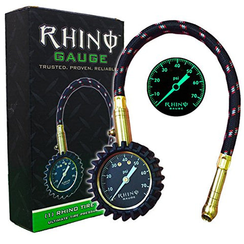 "RHINO USA Heavy Duty Tire Pressure Gauge (0-75 PSI) - Certified ANSI B40.1 Accurate, Large 2"" Easy Read Glow Dial, Premium Braided Hose, Solid Brass Hardware, Best For Any Car, Truck, Motorcycle, RV"