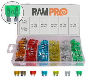 RamPro 120 Pc Car Truck Boat Fuse Assortment Kit - 5, 7.5, 10, 15, 20, 25, 30 AMP – Regular Standard APR/ATO (Open)/ATS Fuses