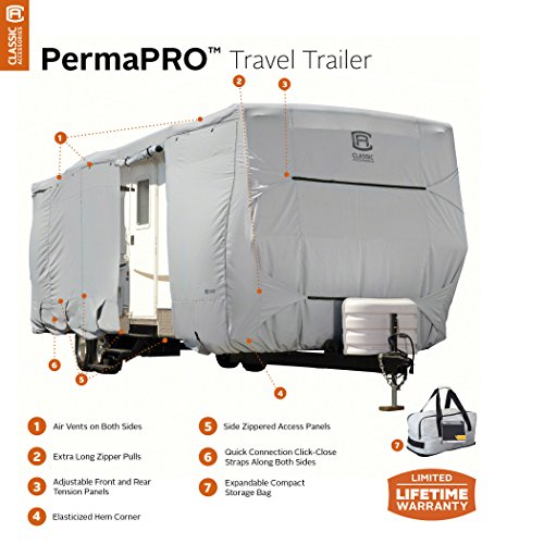 Classic Accessories OverDrive PermaPRO Deluxe Travel Trailer Cover, Fits 27' - 30' RVs - Lightweight Ripstop and Water Repellent RV Cover (80-138-181001-00)