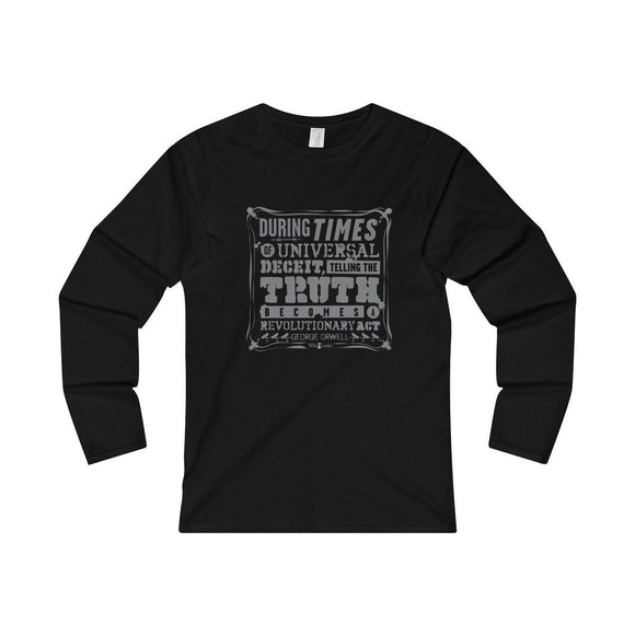 Orwell Quote - Women's Fitted Long Sleeve Tee