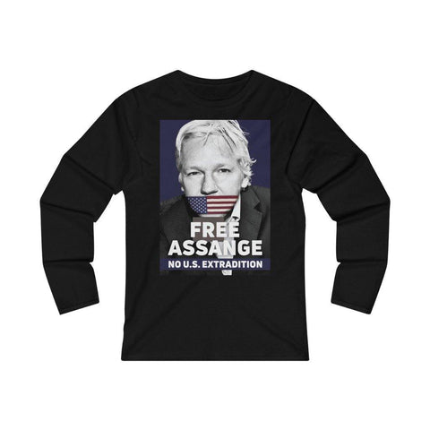 Free Assange - No U.S Extradition - Women's Fitted Long Sleeve Tee
