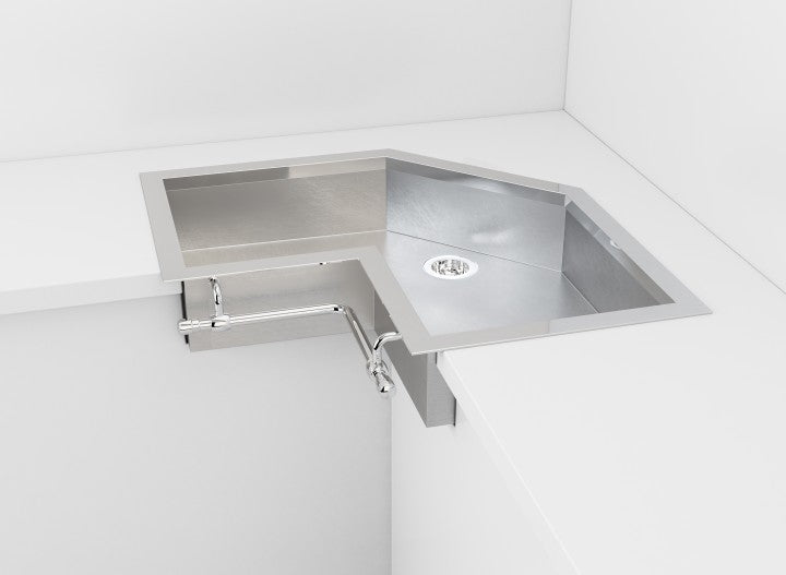 SATIN STAINLESS STEEL SEMI-RECESSED CORNER SINK