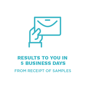 Results to you in 5 business days from receipt of samples