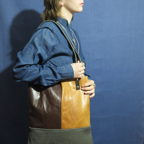#1178 // Honey + Chocolate + Slate Tote