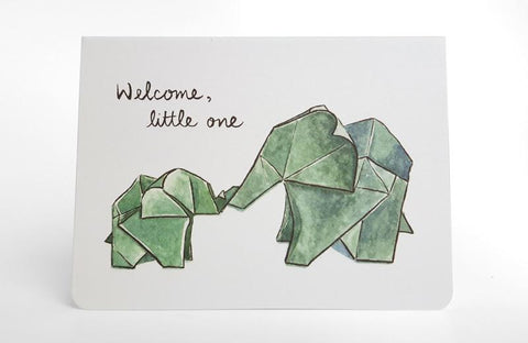 ORIGAMI ELEPHANTS MINI CARD