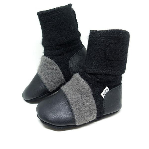 Felted Wool Booties: Eclipse - Size 5.5 (12-18m)