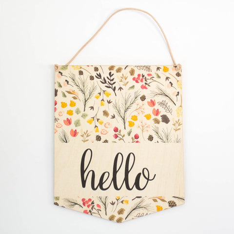 Hello Floral Wall Hanging