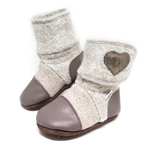 Felted Wool Booties: Latté - Size 7 (18-24m)
