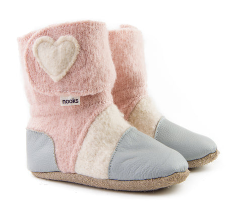 Felted Wool Booties: Grey/Pink w/Hearts - Size 2.5 (0-6m)