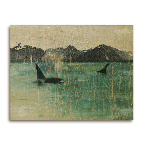 Orca Whales Wooden Art Print