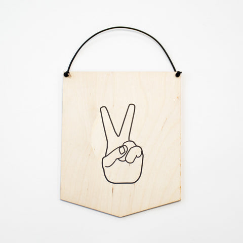 Peace Hand Banner Wall Hanging