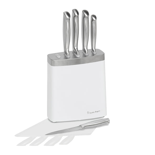 White & Steel 6 Piece Knife Block