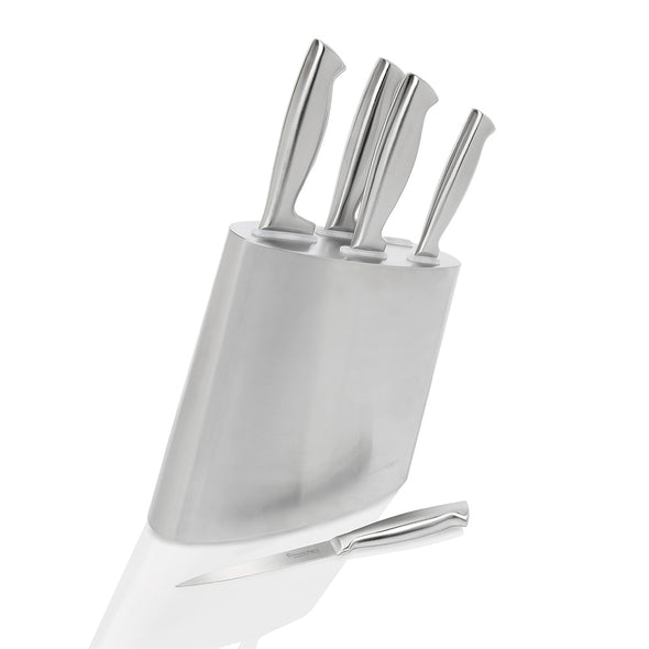 Modern Steel 6 Piece Knife Block