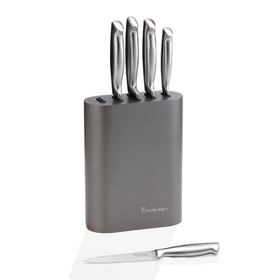 Oval Metallic Pewter 6 Piece Knife Block