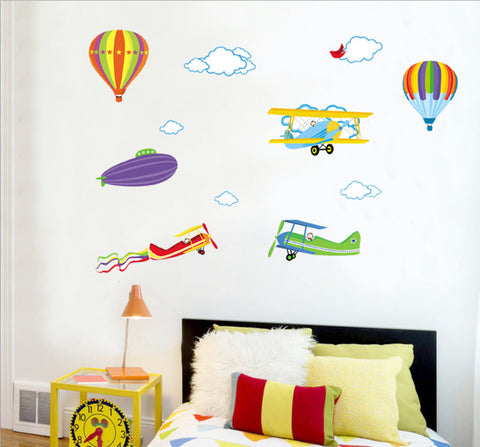 HOT AIR BALLOONS & AIRPLANES Kids / Nursery Removable Wall sticker  HM Wall decal Mural