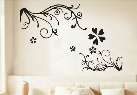 Black Floral wall decals Removable Wall Sticker