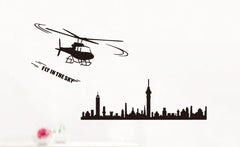 Helicopter & City Silhouette Wall Art  wall decals Removable Wall Sticker