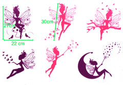 6  Fairy and Stars Removable Wall Sticker for Kids room / Nursery