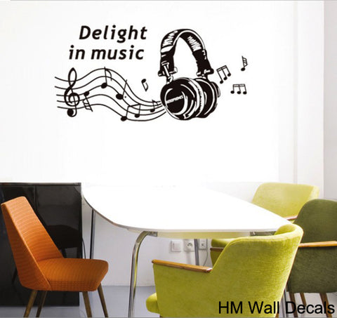Music Head Phone Black wall decals Removable Wall Sticker