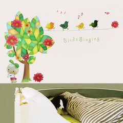 Tree and singing Birds  Kids / Nursery wall decals Removable Wall Sticker