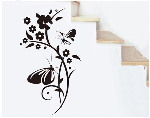Floral and Butterflies  Wall Art  wall decals Removable Wall Sticker