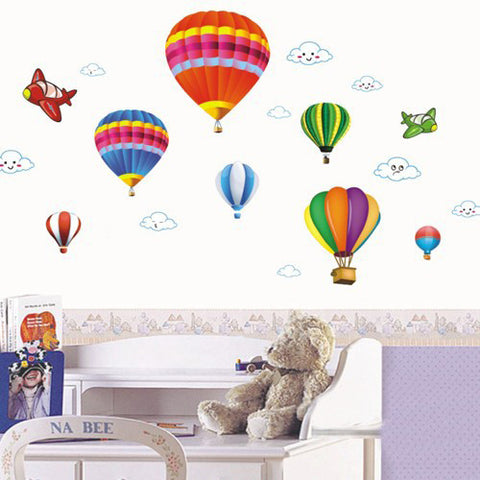 HOT AIR BALLOONS ,AIRPLANES, CLOUDS  Removable Wall Sticker Kids wall sticker